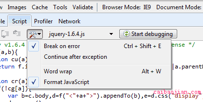 Formatting the JavaScript in IE9.