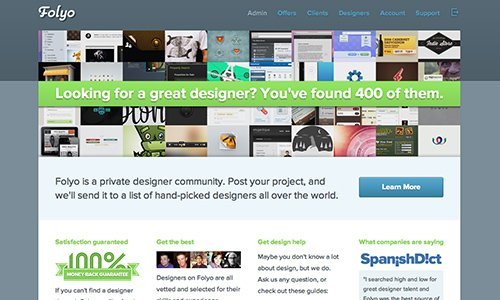 Folyo, a private job board for freelance design projects.